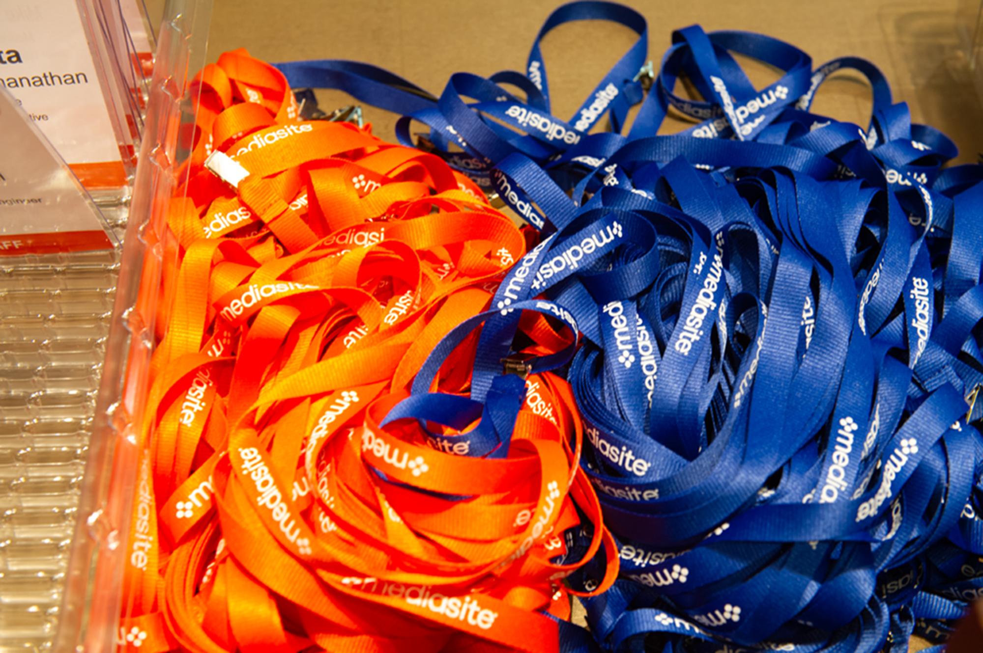 orange and blue msx lanyards
